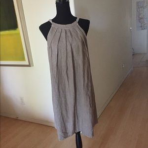 Dresses & Skirts - Tan Linen Halter dress with tie in back